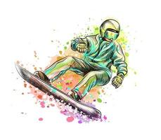 Abstract snowboarder from a splash of watercolor, hand drawn sketch. Vector illustration of paints