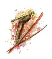 Abstract jumping skier from a splash of watercolor, hand drawn sketch. Vector illustration of paints