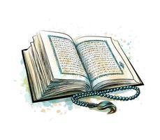 libro sagrado del Corán con rosario de salpicaduras de acuarelas. fiesta musulmana, eid mubarak, eid al-fitr, ramadan kareem. boceto dibujado a mano. ilustración vectorial de pinturas vector