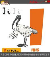 letter I worksheet with cartoon ibis bird animal character