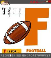 letter F from alphabet with cartoon football ball