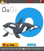 letter O from alphabet with orca animal character