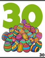 number thirty and cartoon Easter eggs group