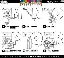 educational cartoon alphabet letters set from M to R color book page