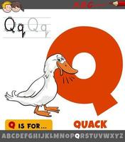 letter Q from alphabet with quack duck sound