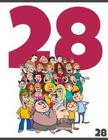 number twenty eight and cartoon people crowd