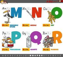 educational cartoon alphabet letters for children from M to R