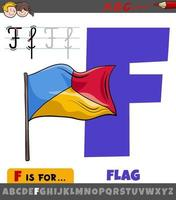 letter F from alphabet with cartoon flag object