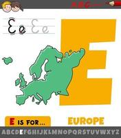 letter E from alphabet with Europe continent