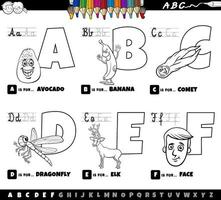 educational cartoon alphabet letters set from A to F color book page vector
