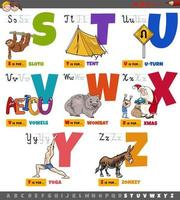 educational cartoon alphabet letters for children set from S to Z