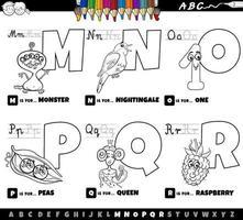 Letras del alfabeto de dibujos animados educativos establecidos de la m a la r página del libro de color