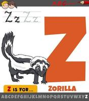 letter Z from alphabet with cartoon zorilla animal character