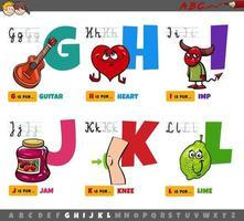 letras del alfabeto de dibujos animados educativos para niños de g a l vector
