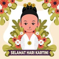 Celebrating Happy Kartini Day With Cute Little Girl vector