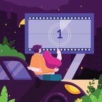 Drive-in Movie Theatre Concept vector