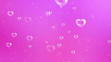 fond abstrait bulles en forme de coeur transparent video