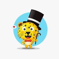 Cute leopard mascot magician vector