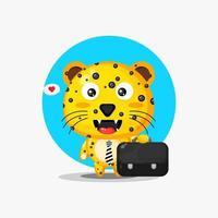 lindo leopardo ir a trabajar vector