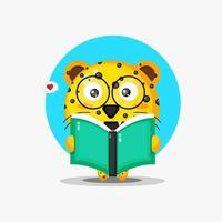 Cute leopard is reading a book vector