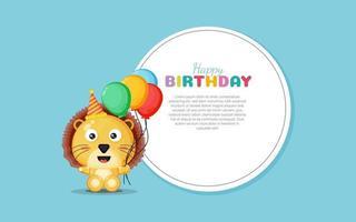 tarjeta de feliz cumpleaños con lindo león vector