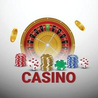 Casino online gambling game with roulette, casino chips, and gold coin vector