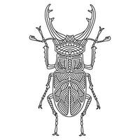 Beetle Brazilian woodcutter coloring book. Woodcutter beetle linear vector illustration. Anti-stress coloring book for adults and children. Hand-drawn doodle coloring book