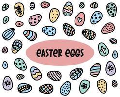 Easter eggs doodle set. Hand-drawn vector illustration