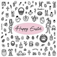 Easter doodles set. Hand-drawn vector illustration in the doodle style.