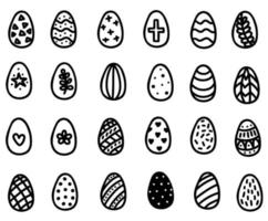 Easter eggs doodle set. Hand-drawn vector illustration. Decorated Easter egg icons
