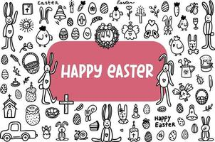 Easter doodles set. Hand-drawn vector illustration in the doodle style