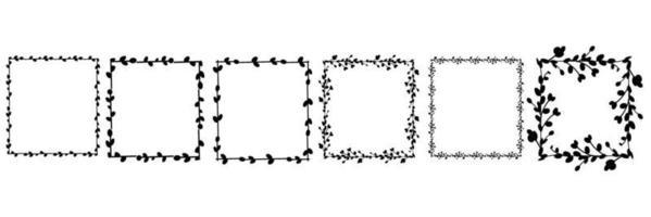 conjunto de marcos cuadrados de pascua. Marco cuadrado hecho de ramas de sauce. Corona de Pascua hecha de tallos de sauce. Ilustración plana de vector. diseño para invitaciones, imprenta. ilustración vectorial vector