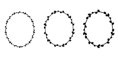 conjunto de guirnaldas de sauce de pascua. corona floral ovalada. silueta negra de marco ovalado. vector ilustración plana. diseño para pascua, bodas, invitaciones, estampados