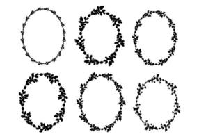 Set of Easter willow wreaths.Oval floral wreath. Oval frame black silhouette. Vector flat illustration. Design for Easter, Weddings, invitations, printing