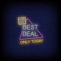 Best Deal Only Today Neon Signs Style Text Vector