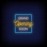Grand Opening Soon Neon Signs Style Text Vector