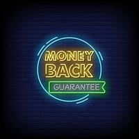 Money Back Guarante Neon Signs Style Text Vector
