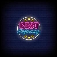 Best Performing Neon Signs Style Text Vector