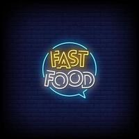 Fast Food Neon Signs Style Text Vector