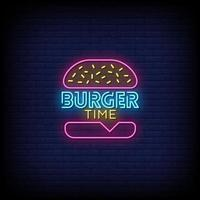 Burger Time Neon Signs Style Text Vector