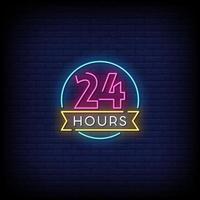 24 horas letreros de neón estilo vector de texto