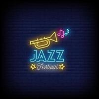 Jazz Festival Neon Signs Style Text Vector