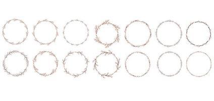 conjunto de corona de sauce. Pascua redonda sauce wreath.vector ilustración plana aislada sobre fondo blanco. diseño para pascua, invitaciones, postales, impresos. vector