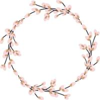 Willow wreath. Round frame made of willow twigs. Easter wreath made of willow stalks.Vector flat illustration isolated on a white background vector