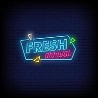 Fresh Arrival Neon Signs Style Text Vector