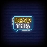 Read This Neon Signs Style Text Vector