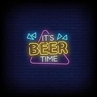 It Is Beer Time Neon Signs Style Text Vector