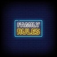 vector de texto de estilo de letreros de neón de reglas familiares
