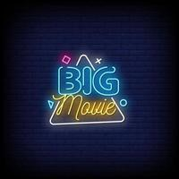 Big Movie Neon Signs Style Text Vector