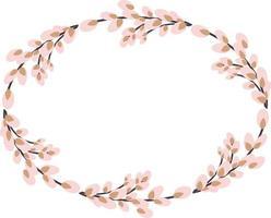 corona ovalada de sauce. willow wreath.easter corona hecha de sauce stalks.vector ilustración plana aislado en un fondo blanco. diseño para invitaciones, postales, impresión. vector